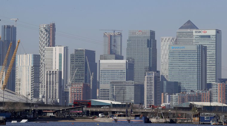 London's financial district in Canary Wharf