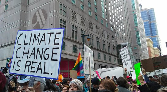 US protest climate change sign