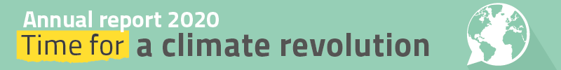 Small banner: Annual report 2020 - Time for a climate revolution