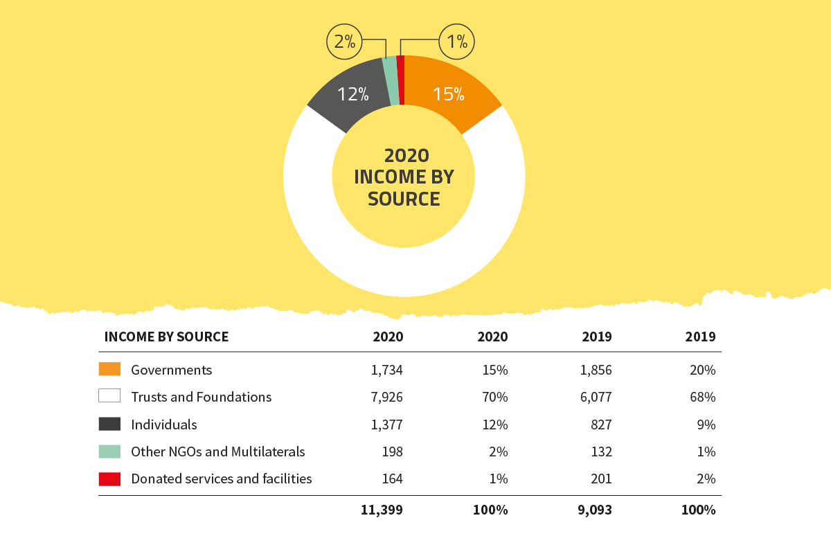 Global Witness 2020 income by source