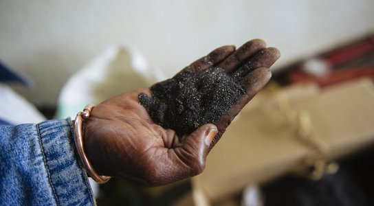 DRC mineral ore in hand
