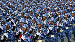 Myanmar soldiers marching in formation
