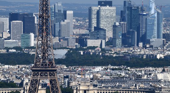 Eiffel Tower and Paris financial district