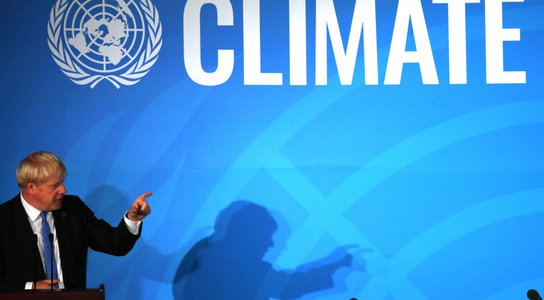 UK Prime Minister Boris Johnson speaks at the United Nations (UN) Climate Action Summit on September 23, 2019 in New York City.