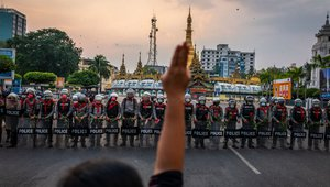 Myanmar People Stage Protests As Internet Is Cut, Yangon, February 2021