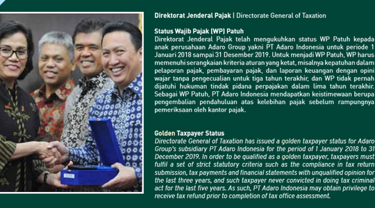 Golden Taxpayer photo from Adaro Report