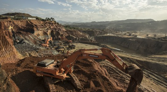 Big machines are used to excavate jade in Hpakant, Myanmar