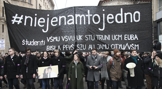 Protesters march in Bratislava after murder of journalist Jan Kuciak and his fianceé Martina Kušnírov