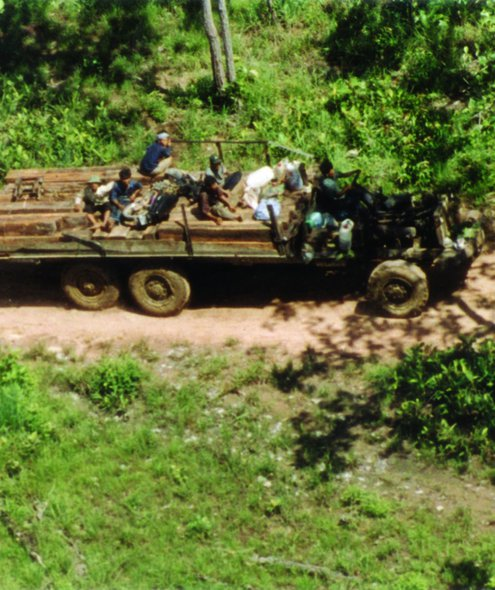 Soldiers escorting illegally-logged luxury timber, Phnom Aural Wildlife Sanctuary, May 2004. Credit: Global Witness