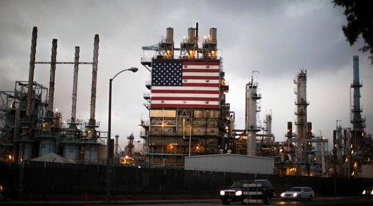 American flag on an oil refinery
