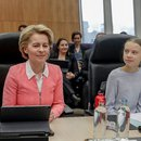 Greta Thunberg and Ursula Von der Leyen at vote on European climate law proposal 4 March 2020