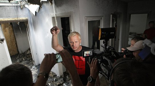 Activist Vitaliy Shabunin speaks on fire in his house, Ukraine - 23 Jul 2020