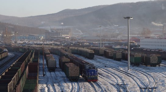 trains with full of timber in Suifenhe.jpg